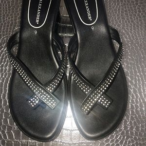 Athena Alexander black rhinestone wedge sandals